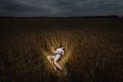 A mulher está encontrando-se no campo de trigo dourado Foto de Stock Royalty Free