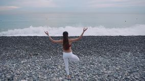 A mulher está estando em um pé e está meditando no mar dianteiro no dia vídeos de arquivo