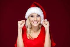 A mulher está muito feliz Foto de Stock Royalty Free