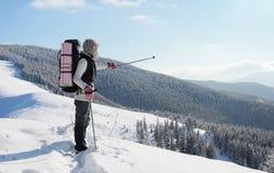 A mulher está na montanha Foto de Stock Royalty Free
