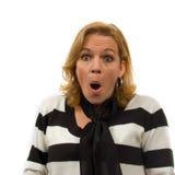 A mulher está olhando surpreendida Imagem de Stock Royalty Free