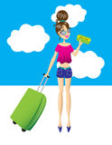 A mulher está pronta para ir viajar Imagens de Stock
