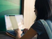 A mulher está trabalhando no portátil no café do café imagem de stock