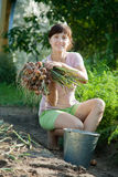 A mulher está escolhendo a cebola Imagem de Stock Royalty Free