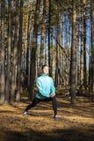 Mulher, estilo de vida, natureza, exercício, ar fresco, exterior foto de stock