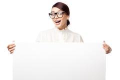 Mulher estrita em grandes vidros Imagens de Stock