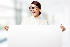 Mulher estrita em grandes vidros Foto de Stock Royalty Free