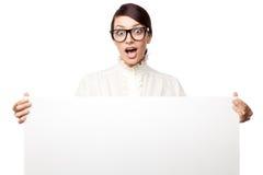 Mulher estrita em grandes vidros fotografia de stock royalty free