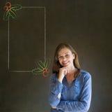 Mulher, estudante ou professor com mão no menu do azevinho do Natal do queixo para fazer a lista de verificação Imagens de Stock