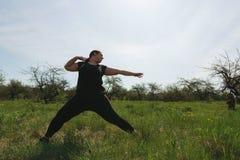 Mulher excesso de peso que faz a ioga no parque da manh? fotos de stock
