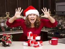 Mulher excitada durante o Natal Imagens de Stock Royalty Free