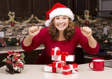 Mulher excitada durante o Natal Imagens de Stock