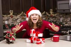 Mulher excitada durante o Natal Fotos de Stock Royalty Free