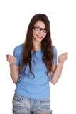 Mulher Excited com punhos acima Fotografia de Stock