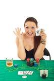 Mulher Excited do jogador Fotografia de Stock