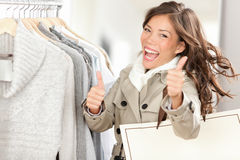 Mulher excited feliz da compra Fotos de Stock Royalty Free
