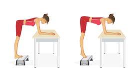 A mulher executa exercícios para reforçar os músculos da vitela ilustração stock