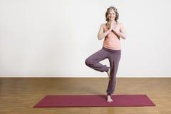 A mulher exercita a ioga Fotografia de Stock Royalty Free