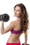 A mulher exercita o levantamento de peso imagens de stock royalty free