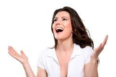 Mulher expressivo feliz bonita nova fotografia de stock