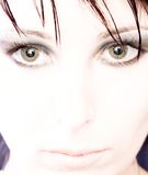 Mulher eyed verde bonita Imagem de Stock Royalty Free