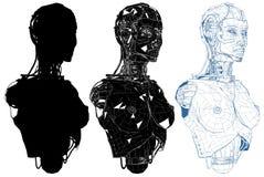Mulher fêmea Android com vetor interno da tecnologia Fotos de Stock Royalty Free