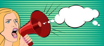 A mulher fala em um megafone Ilustração do vetor Fotografia de Stock