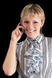 A mulher fala no telefone Imagem de Stock