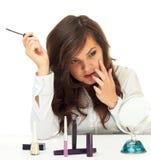 A mulher faz a composição Fotografia de Stock