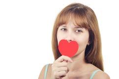 A mulher fechado um coração da boca Fotos de Stock