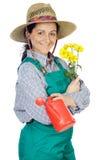 Mulher feliz atrativa jardineiro vestido fotografia de stock