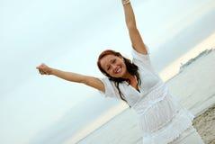 Mulher feliz bonita fotografia de stock royalty free
