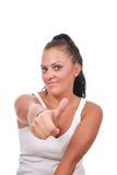Mulher feliz bonita com polegares acima Imagem de Stock