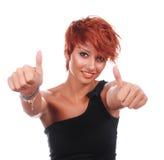 Mulher feliz bonita com polegares acima Fotos de Stock
