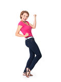 Mulher feliz bonita que comemora o sucesso que é um vencedor Fotos de Stock
