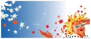 Mulher feliz com cabelo das folhas de outono no estilo retro Fotografia de Stock