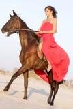 Mulher feliz com cavalo imagem de stock