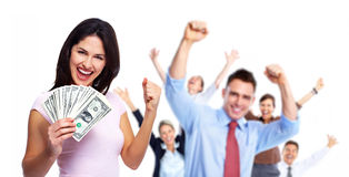 Mulher feliz com dinheiro Imagem de Stock Royalty Free