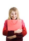Mulher feliz com saco de compra imagens de stock