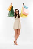 Mulher feliz com sacos de compras No branco imagens de stock