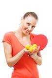 Mulher feliz com sorriso da raquete do pong do sibilo Foto de Stock