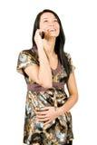 Mulher feliz com telefone móvel Imagem de Stock