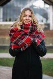 Mulher feliz com um lenço outono Retrato do outono da menina bonita Fotografia de Stock Royalty Free