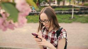 Mulher feliz com um telefone em um jardim de florescência da mola na noite filme