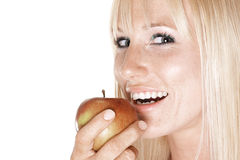Mulher feliz com uma maçã Fotografia de Stock