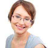 Mulher feliz com vidros Fotografia de Stock Royalty Free