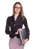 Mulher feliz com vidros vestindo do portátil no fundo branco Fotografia de Stock