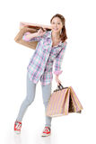 Mulher feliz da compra fotos de stock royalty free