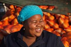 Mulher feliz das vendas Fotografia de Stock
