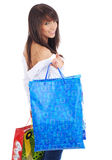 Mulher feliz de compra. Foto de Stock
